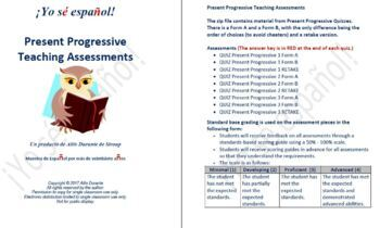 Present Progressive  Teaching Assessments