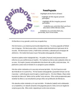 Spanish Present Progressive Rainbow Reading