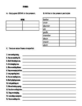 Spanish Present Progressive Seis Game