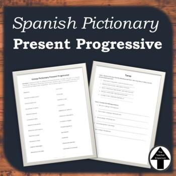 Present Progressive Spanish Game Pictionary Reveiw Activity