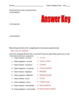 Present Progressive Spanish Graphic Organizer and worksheet