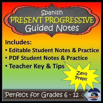 Present Progressive - Spanish Guided Notes and Key