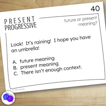 Present Progressive Task Cards for Secondary to Adult Students