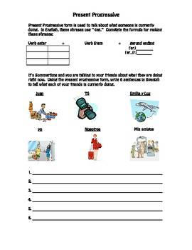 Present Progressive Worksheet- Spanish- Travel Vocabulary