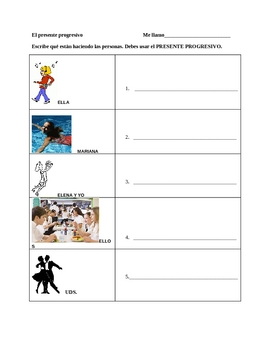 Present Progressive activity worksheet  Presente progresivo