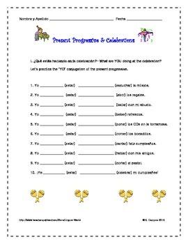 Present ProgressiveTense in Spanish-Conjugation Practice- El Presente Progresivo