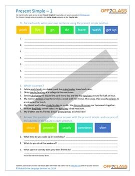 Present Simple - Activity Sheet - 1
