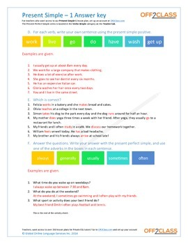 Present Simple - Activity Sheet - 1 (Answer Key)