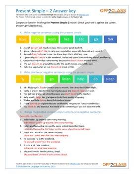 Present Simple - Activity Sheet - 2 (Answer Key)