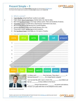 Present Simple - Activity Sheet - 3