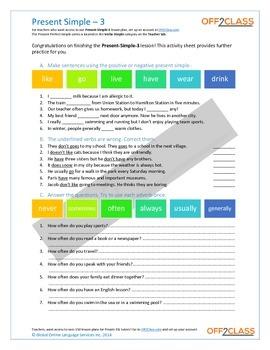 Present Simple - Activity Sheet - 3