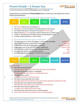 Present Simple - Activity Sheet - 3 (Answer Key)