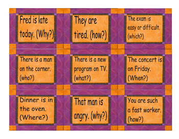 Present Simple Information Question Word Cards