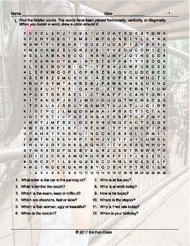 Present Simple Information Question Words Word Search