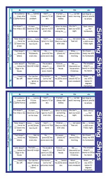 Present Simple Positive/Negative Statements/Contractions Battleship Board Game