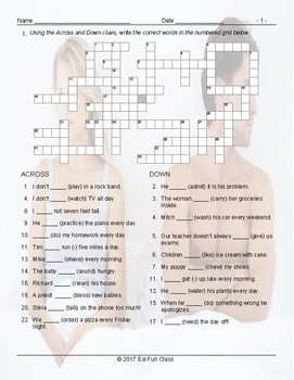 Present Simple Positive & Negative Statements Crossword Puzzle Worksheet