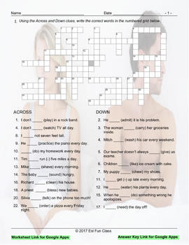 Present Simple Positive & Negative Statements Crossword Puzzle for Google Apps