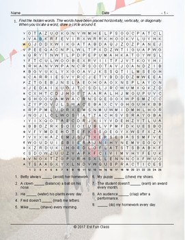 Present Simple Positive & Negative Statements Word Search Worksheet