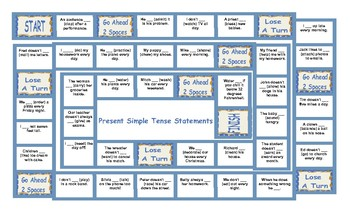 Present Simple Positive and Negative Statements Board Game