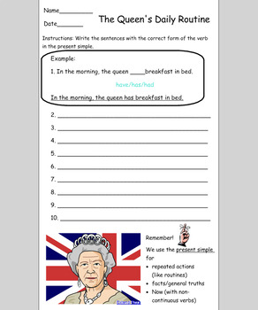 Present Simple Practice Listening & Writing - The Queens Daily Routine