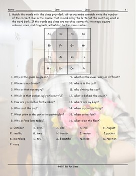 Present Simple Question Words Magic Square