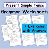 Present Simple Tense Grammar Worksheets (Grade 1 and up, ESL, ELL, EFL, ESOL)