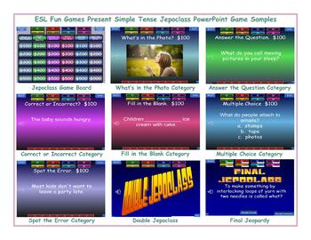 Present Simple Tense Jeopardy PowerPoint Game