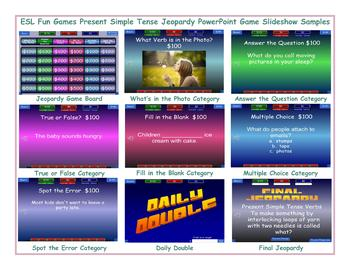 Present Simple Tense Jeopardy PowerPoint Game Slideshow