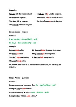 Present Simple Tense Notes