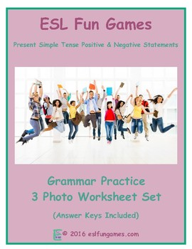 Present Simple Tense Positive and Negative Statements 3 Photo Worksheet Set
