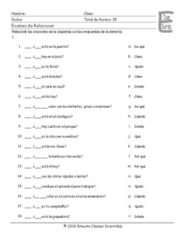 Present Simple Tense Question Words Spanish Matching Exam
