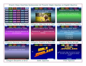 Present Simple Tense  Spanish Jeopardy Game