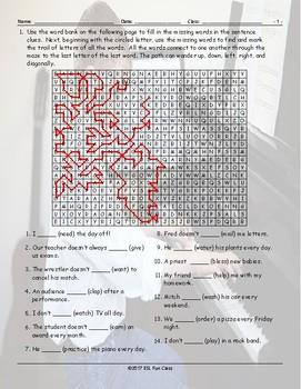 Present Simple Tense Statements Word Maze