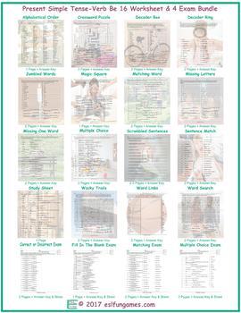 Present Simple Tense-Verb Be 16 Worksheet- 4 Exam Bundle