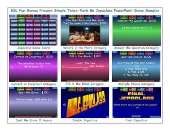 Present Simple Tense-Verb Be Jeopardy PowerPoint Game Slideshow