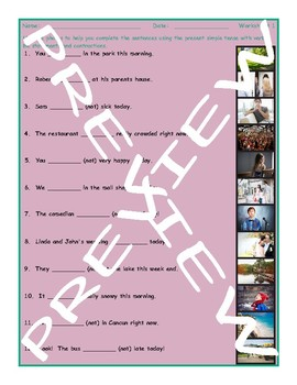 Present Simple Tense Verb Be Statements & Contractions 3 Photo Worksheet Set