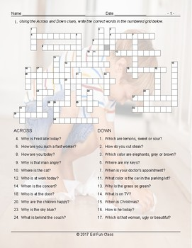Present Simple Tense with Question Words Crossword Puzzle Worksheet