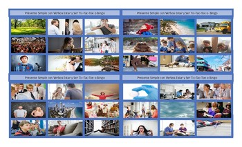 Present Simple Tense with Verbs Estar and Ser Spanish Legal Size Photo Tic-Tac-T