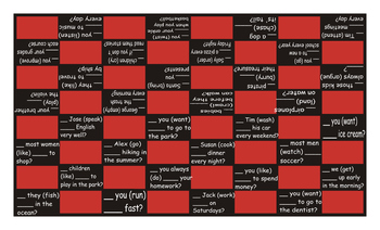 Present Simple Tense with Yes-No Questions Checker Board Game