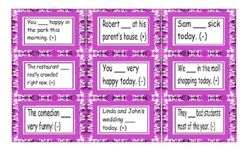 Present Simple Verb Be Positive/Negative Statements with Contractions Card Game