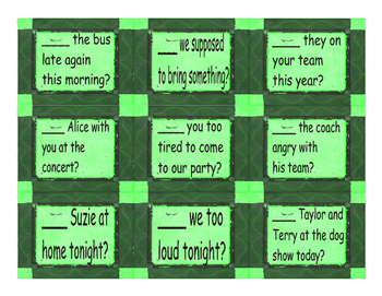 Present Simple Verb Be Yes/No Questions Card Game