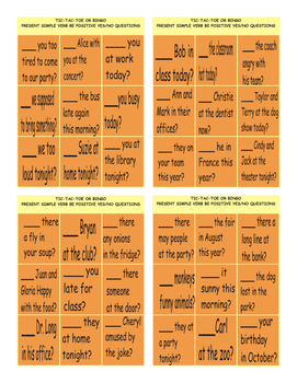 Present Simple Verb Be with Yes No Questions Tic-Tac-Toe or Bingo Game