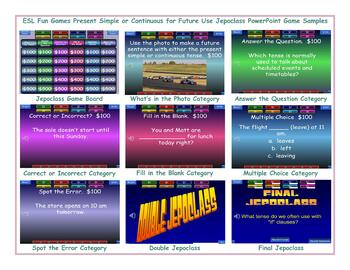 Present Simple or Continuous for Future Use Jeopardy PowerPoint Game