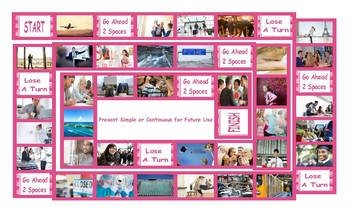 Present Simple or Continuous for Future Use Legal Size Photo Board Game