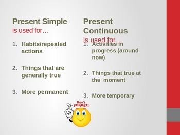 Present Simple vs Present Continuous - Powerpoint
