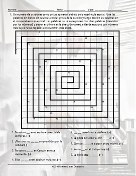 Present Simple with Verbs Ser and Estar Word Spiral Spanish Worksheet