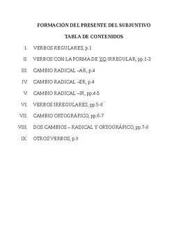 Present Subjunctive Forms - Packet
