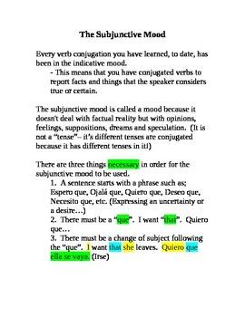 Present Subjunctive Notes - Spanish