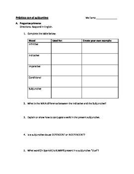 Present Subjunctive Practice Worksheet