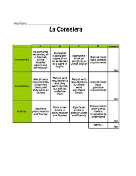Spanish Present Subjunctive Project:  La Consejera